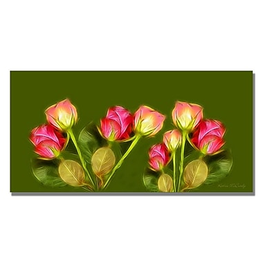 Trademark Fine Art Kathie McCurdy 'Roses Frieze Larger' Canvas Art 16x32 Inches