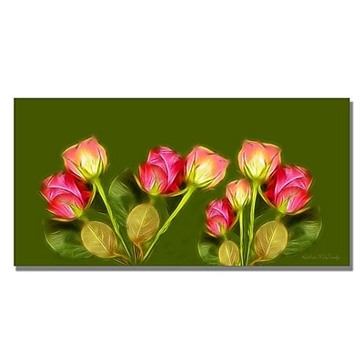 Trademark Fine Art Kathie McCurdy 'Roses Frieze Larger' Canvas Art 12x24 Inches