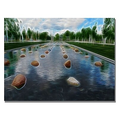 Trademark Fine Art Kathie McCurdy 'Peaceful Water Abstract' Canvas Art 18x24 Inches