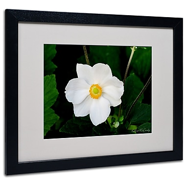 Kathie McCurdy 'Big White Flower' Matted Framed Art - 11x14 Inches - Wood Frame