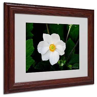 Kathie McCurdy 'Big White Flower' Matted Framed Art - 16x20 Inches - Wood Frame