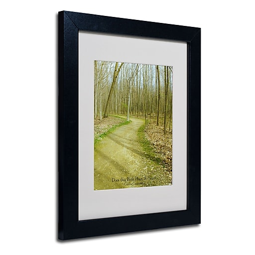Trademark Fine Art Kathie McCurdy 'Does This Path Have a Heart' Matted Black Frame 11x14 Inches