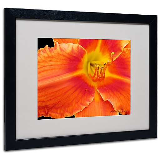 Kathie McCurdy 'Orange Day Lily' Matted Framed Art - 11x14 Inches - Wood Frame