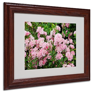 Kathie McCurdy 'Pink Roses' Matted Framed Art - 16x20 Inches - Wood Frame