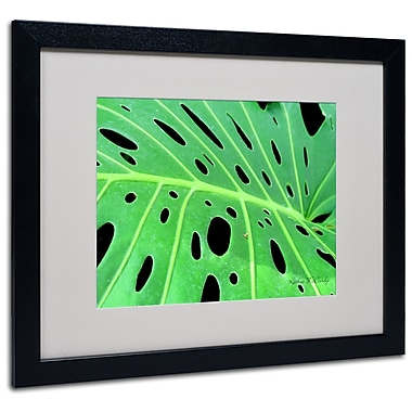 Kathie McCurdy 'Tropical Leaf' Matted Framed Art - 11x14 Inches - Wood Frame