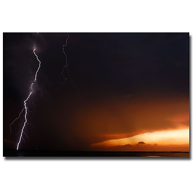 Trademark Fine Art Kurt Shaffer 'Lightning Sunset II' Canvas Art 16x24 Inches