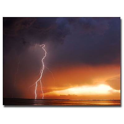 Trademark Fine Art Kurt Shaffer 'Lightning Sunset IV' Canvas Art 24x32 Inches