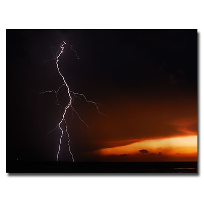 Trademark Fine Art Kurt Shaffer 'Lightning Sunset VI' Canvas Art 35x47 Inches
