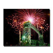 Trademark Fine Art Fireworks Bridge by Kurt Shaffer-Gallery Wrapped 26x32 Inches