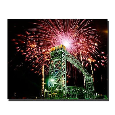 Trademark Fine Art Fireworks Bridge by Kurt Shaffer-Gallery Wrapped 26x32 Inches