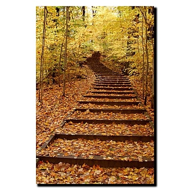 Trademark Fine Art Fall Stairway by Kurt Shaffer-Gallery Wrapped Canvas 18x24 Inches