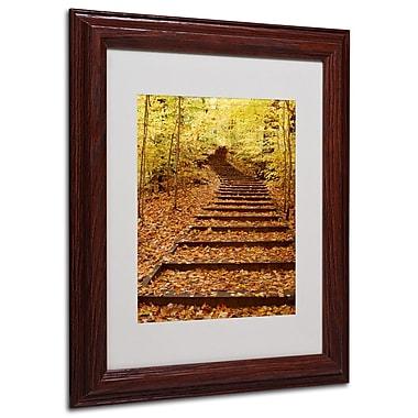 Kurt Shaffer 'Fall Stairway' Framed Matted Art - 16x20 Inches - Wood Frame