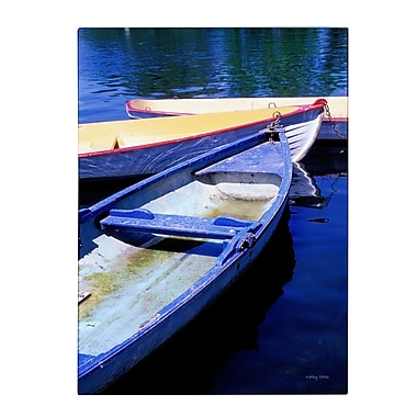 Trademark Fine Art Kathy Yates 'Bois de Boulogne Boats' Matted Art Black Frame 11x14 Inches