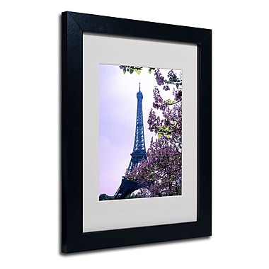 Trademark Fine Art Kathy Yates 'Eiffel Tower with Blossoms' Matted Art Black Frame 16x20 Inches