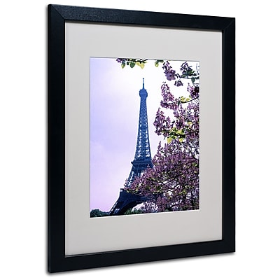 Kathy Yates 'Eiffel Tower with Blossoms' Matted Framed Art - 11x14 Inches - Wood Frame