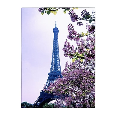 Trademark Fine Art Kathy Yates 'Eiffel Tower with Blossoms' Canvas Art 14x19 Inches