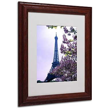 Kathy Yates 'Eiffel Tower with Blossoms' Matted Framed Art - 16x20 Inches - Wood Frame
