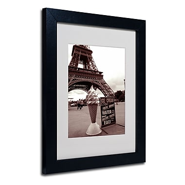 Trademark Fine Art Kathy Yates 'Eiffel Tower Ice Cream Cone 2' Matted Black Frame 16x20 Inches