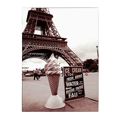 Trademark Fine Art Kathy Yates 'Eiffel Tower with Ice Cream Cone 2' Canvas Art 14x19 Inches