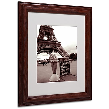 Kathy Yates 'Eiffel Tower Ice Cream Cone 2' Matted Framed - 16x20 Inches - Wood Frame