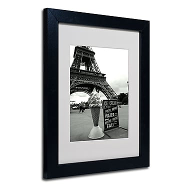 Trademark Fine Art Kathy Yates 'Eiffel Tower Ice Cream Cone' Matted Art Black Frame 16x20 Inches