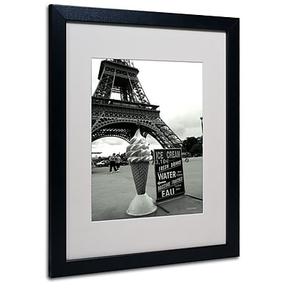 Kathy Yates 'Eiffel Tower Ice Cream Cone' Matted Framed Art - 11x14 Inches - Wood Frame
