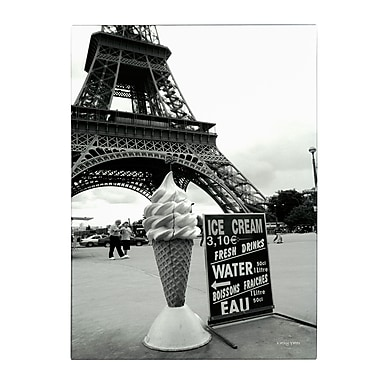 Trademark Fine Art Kathy Yates 'Eiffel Tower with Ice Cream Cone' Canvas Art 30x47 Inches
