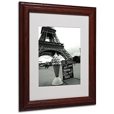 Kathy Yates 'Eiffel Tower Ice Cream Cone' Matted Framed Art - 16x20 Inches - Wood Frame