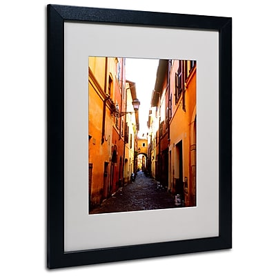 Kathy Yates 'Campo de' Fiori Alley' Matted Framed Art - 11x14 Inches - Wood Frame
