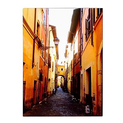 Trademark Fine Art Kathy Yates 'Campo de' Fiori Alley' Matted Art Black Frame 11x14 Inches