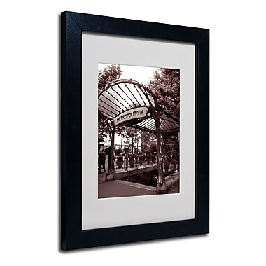Trademark Fine Art Kathy Yates 'Le Metro as Art 2' Matted Art Black Frame 16x20 Inches