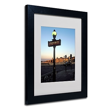 Trademark Fine Art Kathy Yates 'Le Metro at Dusk' Matted Art Black Frame 16x20 Inches