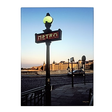 Trademark Fine Art Kathy Yates 'Le Metro at Dusk' Matted Art Black Frame 11x14 Inches