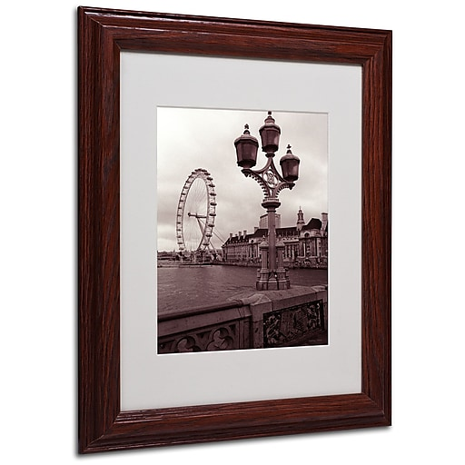 Kathy Yates 'London Eye 2' Matted Framed Art - 16x20 Inches - Wood Frame