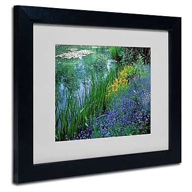 Trademark Fine Art Kathy Yates 'Monet's Lily Pond' Matted Art Black Frame 16x20 Inches