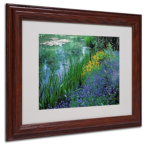 Kathy Yates 'Monet's Lily Pond' Matted Framed Art - 16x20 Inches - Wood Frame