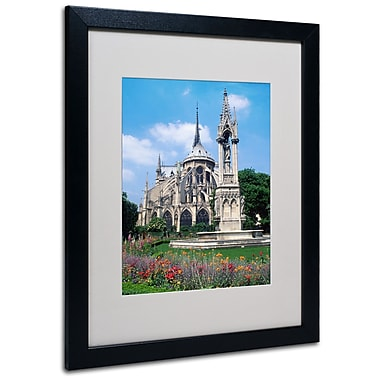 Kathy Yates 'Notre Dame in Spring' Matted Framed Art - 11x14 Inches - Wood Frame