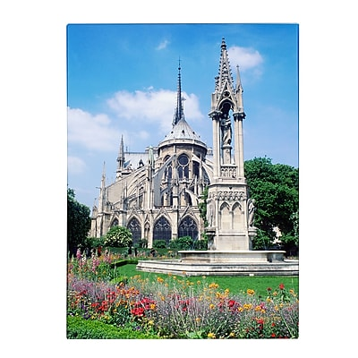 Trademark Fine Art Kathy Yates 'Notre Dame in Spring' Matted Art Black Frame 11x14 Inches