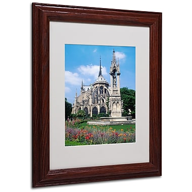 Kathy Yates 'Notre Dame in Spring' Matted Framed Art - 16x20 Inches - Wood Frame
