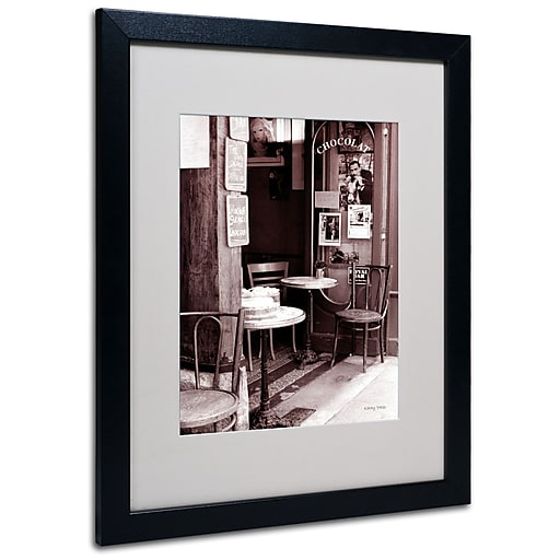 Kathy Yates 'Paris Cafe' Matted Framed Art - 11x14 Inches - Wood Frame