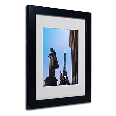 Trademark Fine Art Kathy Yates 'View of Eiffel from Trocadero' Matted Black Frame 16x20 Inches