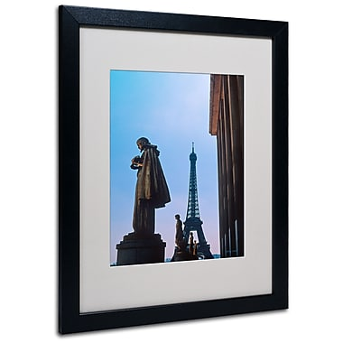 Kathy Yates 'View of Eiffel from Trocadero' Matted Framed - 11x14 Inches - Wood Frame