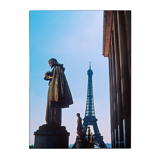 Trademark Fine Art Kathy Yates 'View of Eiffel from Trocadero' Matted Black Frame 11x14 Inches