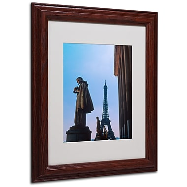 Kathy Yates 'View of Eiffel from Trocadero' Matted Framed - 16x20 Inches - Wood Frame