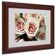 Kathy Yates 'Pale Pink Roses' Matted Framed Art - 16x20 Inches - Wood Frame