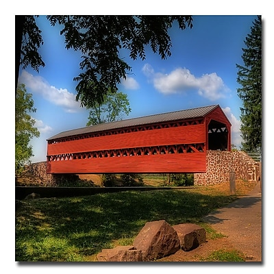 Trademark Fine Art Lois Bryan 'Red Covered Bridge' Canvas Art 24x24 Inches
