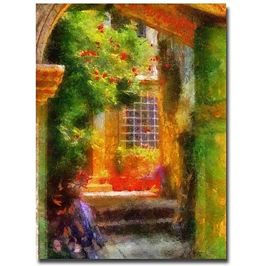Trademark Fine Art Lois Bryan 'Courtyard in Croatia' Canvas Art 35x47 Inches