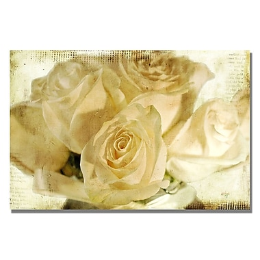 Trademark Fine Art Lois Bryan 'White Rose's' Canvas Art 16x24 Inches