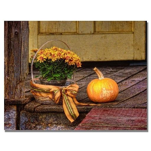 Trademark Fine Art Lois Bryan 'Pumpkin on the Porch' Canvas Art 22x32 Inches