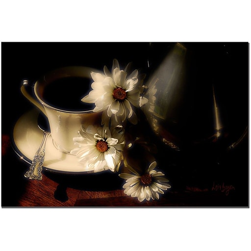 Trademark Fine Art More Coffee Anyone? by Lois Bryan Canvas Art 16x24 Inches
